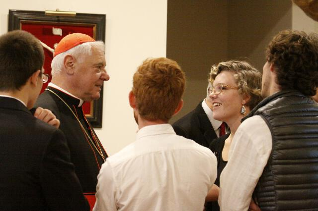 Cardinal Müller greets guests in St. Bernardine of Siena Library