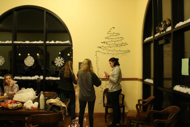 Students decorate the Skinner Coffee Shop
