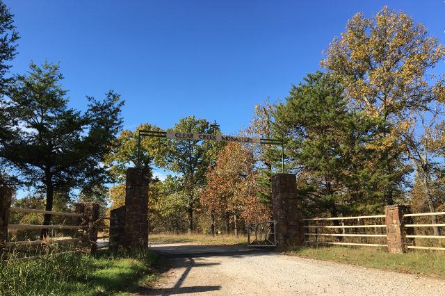Gate of Clear Creek Abbey in Hulbert, Oklahoma