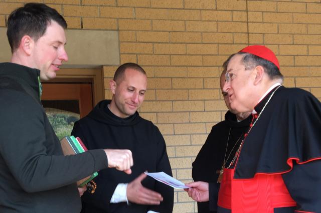 Andrew Hartzell ('03), Fr. Hudson, and Cardinal Burke