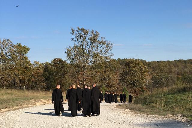 The Clear Creek monks take their daily walk.
