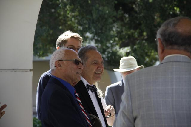 Mr. Barbera (right) with friends at the blessing ceremony