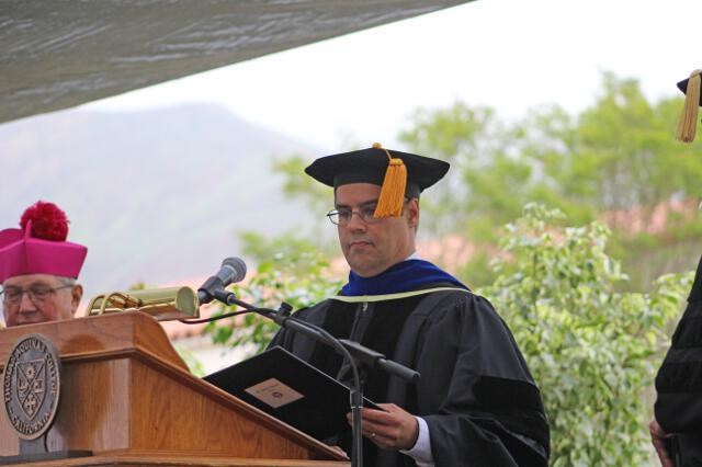 Dean John J. Goyette presents the Candidates for the degree of Bachelor of Arts.