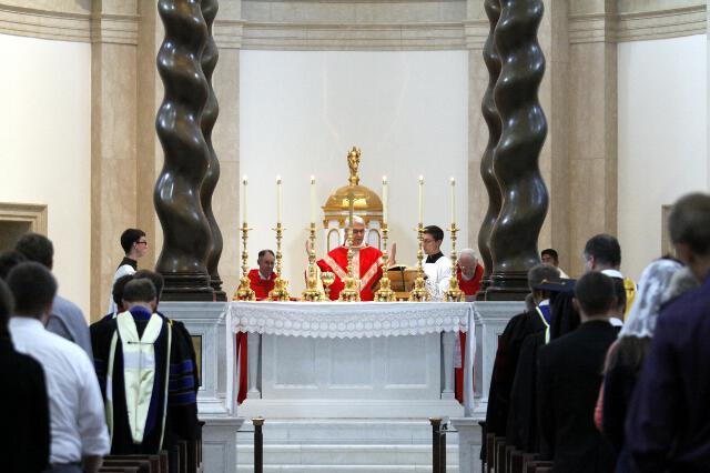 Archbishop Coakley offers the Eucharistic Prayer.