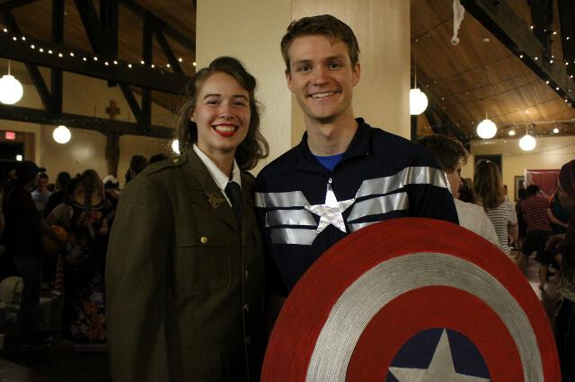 Student dressed up as Captain America