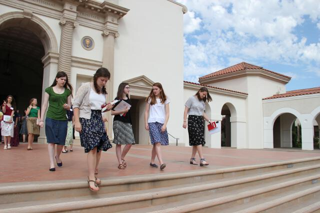 Students exit the Chapel
