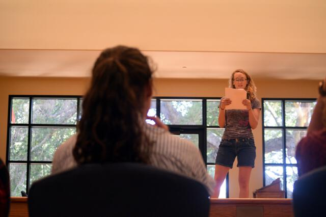 Auditioning actress