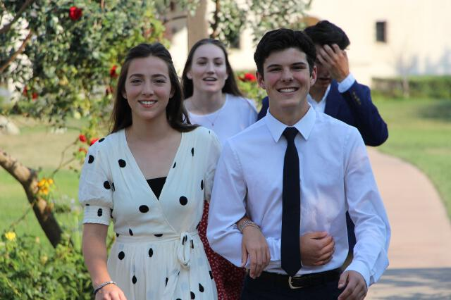 Students arrive at the Gala dinner