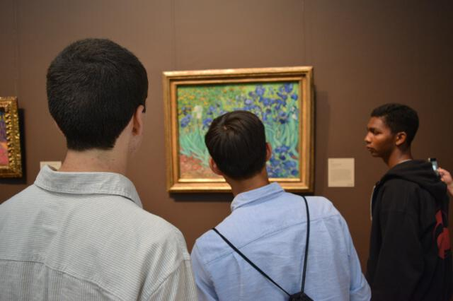 Students inside the Getty Center