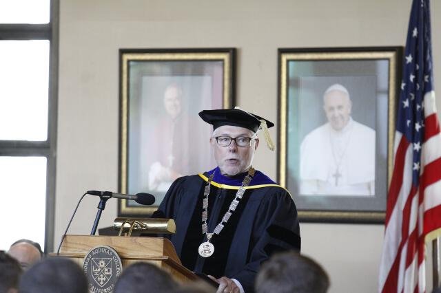Dr. McLean addresses the Freshman Class.