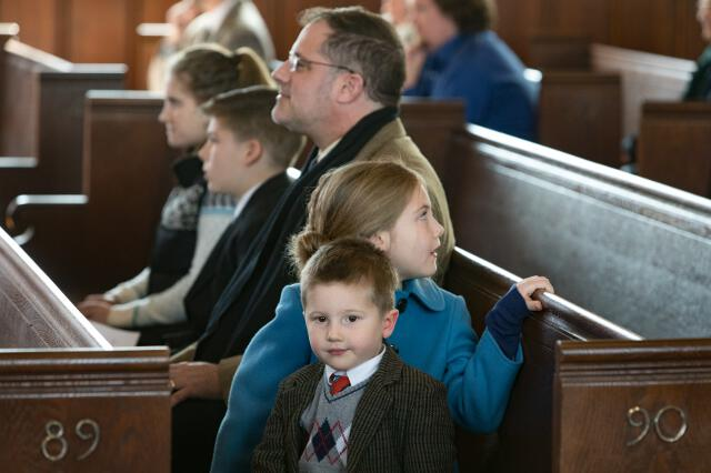 Young children in the pews