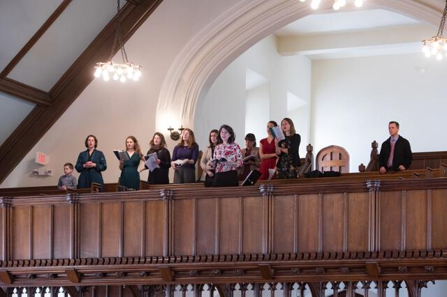 An impromptu choir in the choir loft