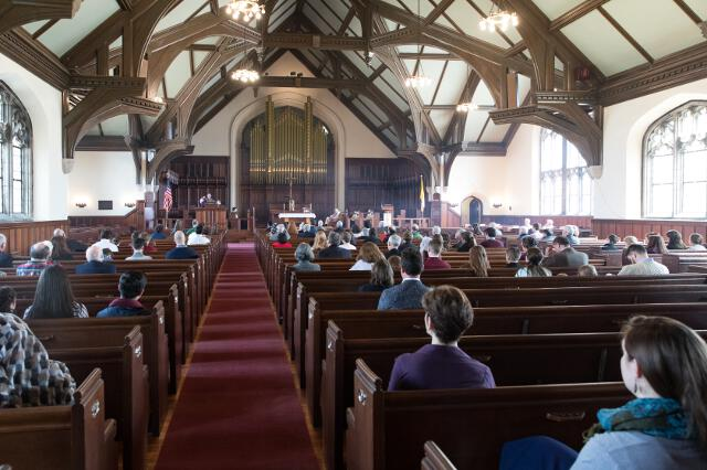 Families in the New England chapel