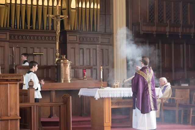 Fr. Casey incenses the altar