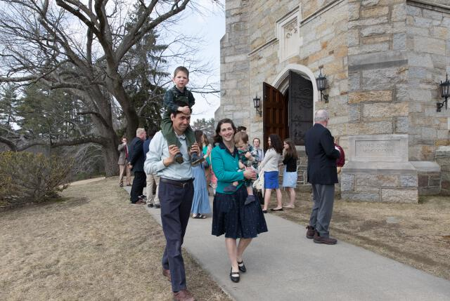 Guests depart the chapel.