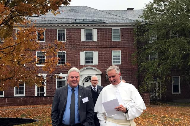 Vice President Paul J. O'Reilly, President Michael F. McLean, and Rev. Sebastian Walshe, O.Praem. ('94), make their way to Sage Chapel for Mass