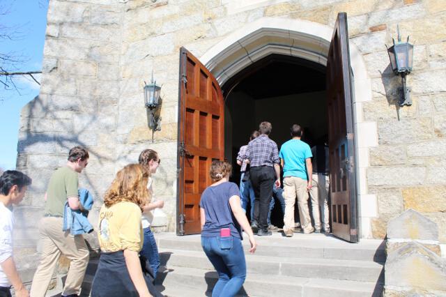 Entering the chapel