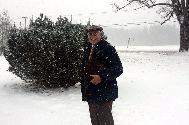 Dr. McLean braves the elements!