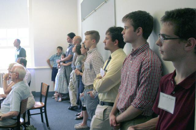 Guests visit a classroom in Palmer Hall.