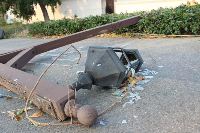 A fallen lamppost