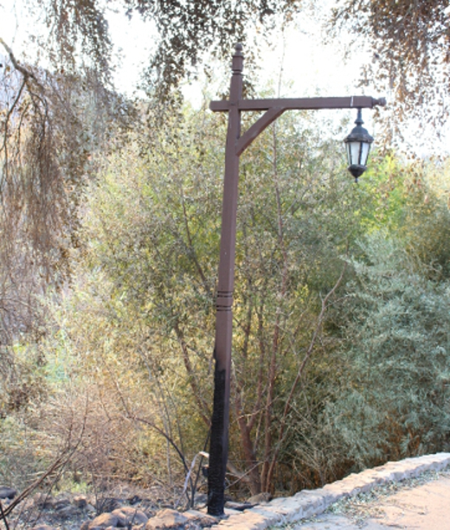 Charred lamppost