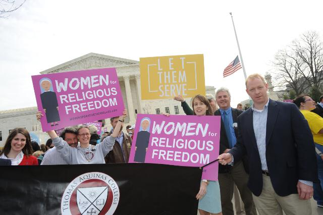 Members of the Washington, D.C., Board of Regents and alumni gather for the rally outside the U.S. Supreme Court. (Photo: Dana Rene Bowler)