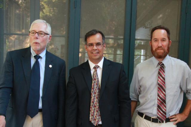 Dr. McLean, Dean John Goyette, and Assistant Dean Christopher Decaen
