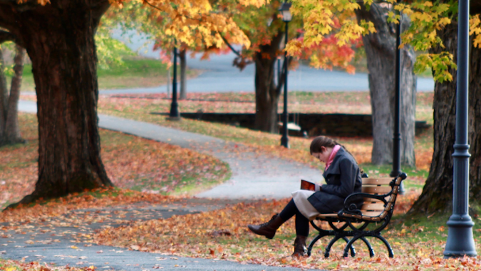 Student reading on the New England campus