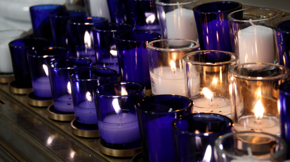 Votive candles in Our Lady of the Most Holy Trinity Chapel