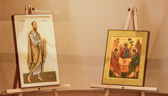An icon of Saint Paul, written by famous English iconographer Aidan Hart, and an icon of the Holy Trinity written, by Irene Perez Omar of Austin, Texas