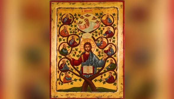 "Greek Icon of Christ as the true vine, the twelve apostles as the branches, and the Father and Holy Spirit above, surrounded by five angels. ""I am the vine, you are the branches. Whoever remains in me and I in him will bear much fruit, because without me you can do nothing"" (John 15:5)."