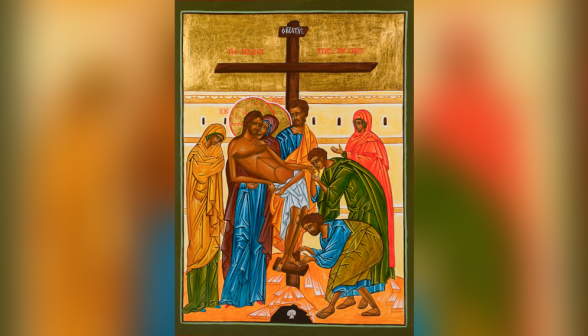Polish icon of the Descent from the Cross, written by Michal Ploski