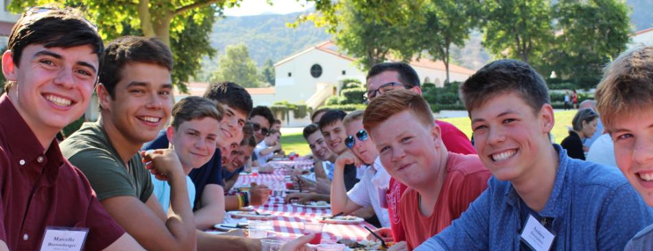 Students at a campus BBQ
